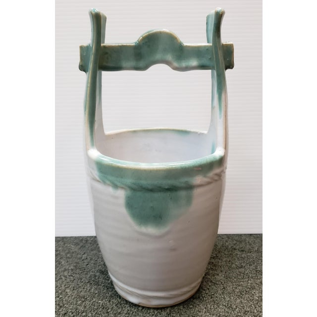 Mid 20th Century Japanese Glazed Stoneware Water Bucket Form Vase For Sale In New Orleans - Image 6 of 7