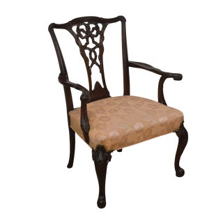Georgian Style 1930's Mahogany Carved Armchair For Sale