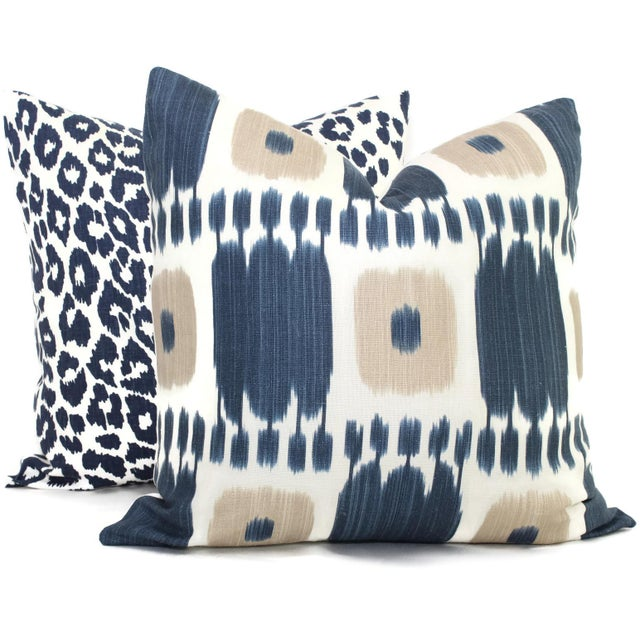 Contemporary Schumacher Kandira Blue Tan Ikat Pillow Cover For Sale - Image 3 of 4