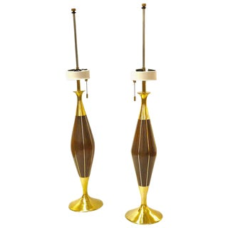 1950s Brass and Walnut Table Lamps by Tony Paul for Westwood Industries - a Pair For Sale
