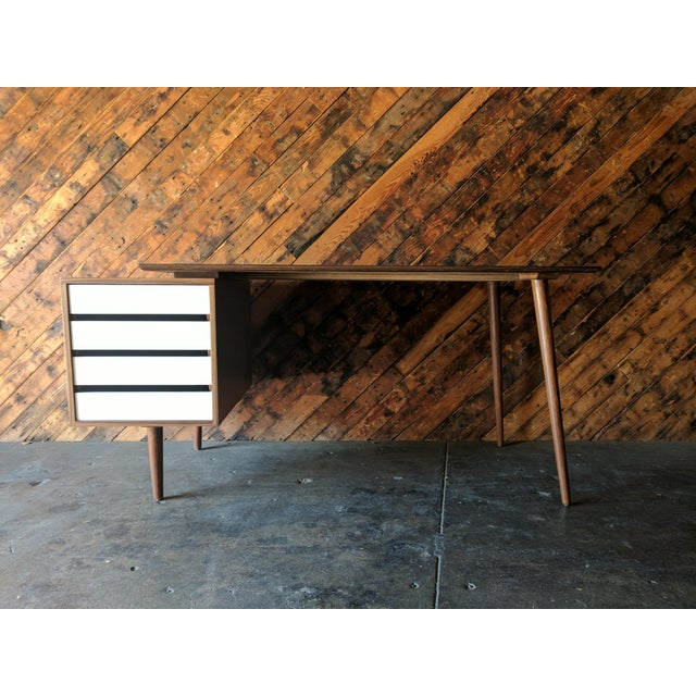 newly hand made, walnut wood, 4 side drawers, mid century style, angled legs, can be made in to different measurements,...