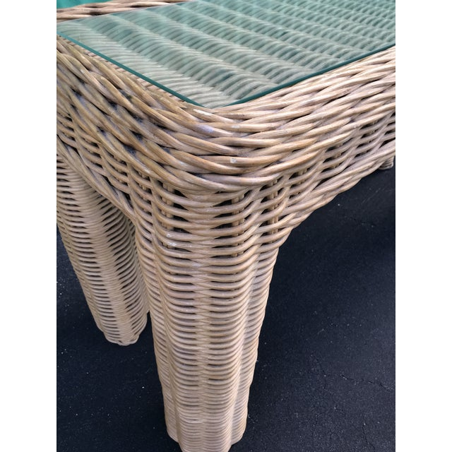 Boho Chic VintageBraid Wicker Console Table For Sale - Image 3 of 11