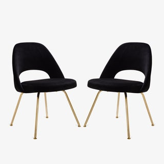 Saarinen Executive Armless Chairs in Noir Velvet, 24k Gold Edition - Set of 6 Preview