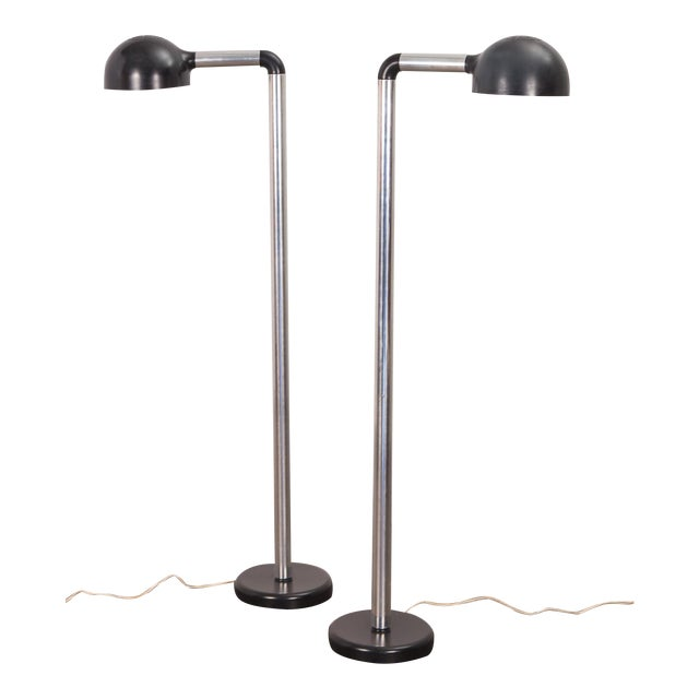 Pair of Robert Haussmann Chrome Floor Lamps for Swisslamps For Sale