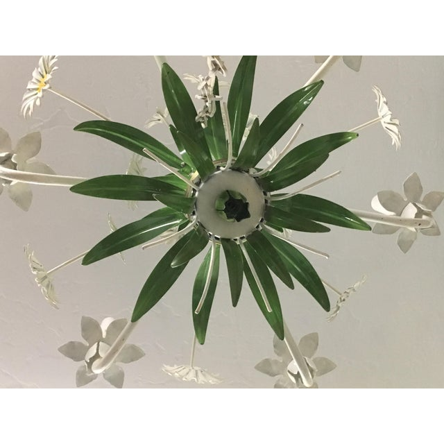White Vintage Tole Chandelier For Sale - Image 8 of 10