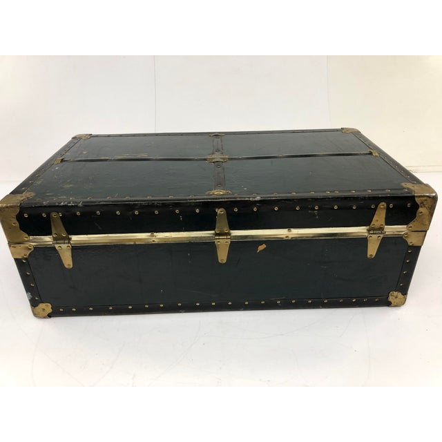 1950s Vintage Vulcanized Black Steamer Trunk With Tray For Sale - Image 5 of 12