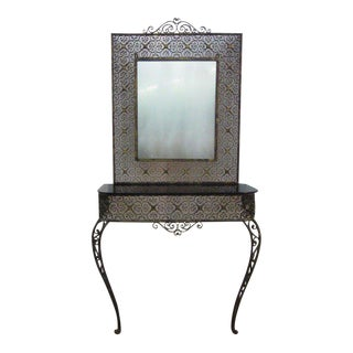 Art Deco Console Table with Matching Mirror Attributed to Oscar Bach For Sale