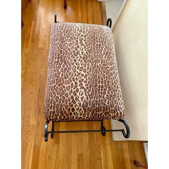 1990s Vintage Leopard Velvet Black Iron Bench For Sale - Image 12 of 13