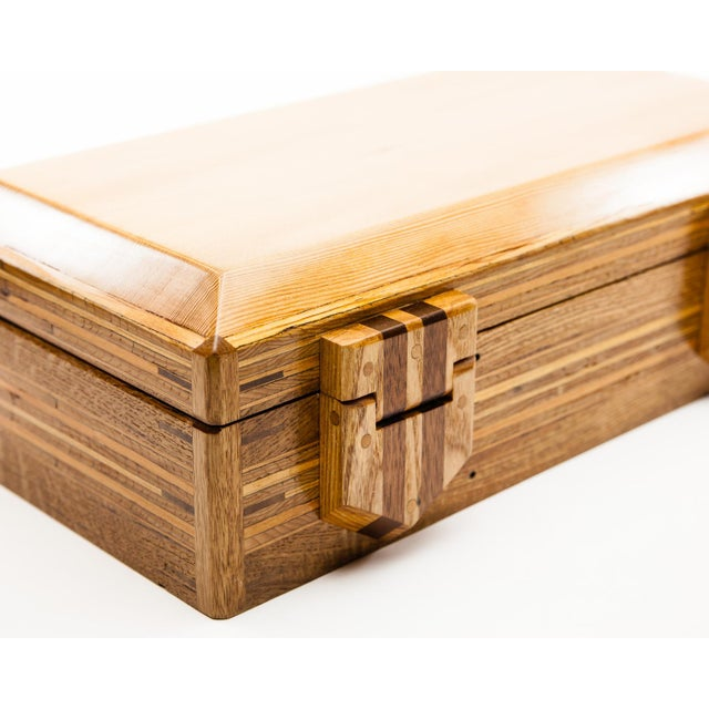 2010s Scandinavian Lawrence & Scott Reclaimed Wood One-Of-A-Kind Lined Jewelry Box For Sale - Image 5 of 12