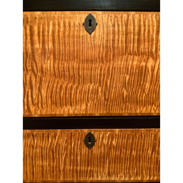 Wood 19th Century American Empire Ebonized and Tiger Maple Tall Chest For Sale - Image 7 of 9