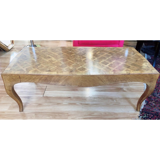 Lovely Marquetry Wooden Inlay Coffee Table For Sale In Saint Louis - Image 6 of 10