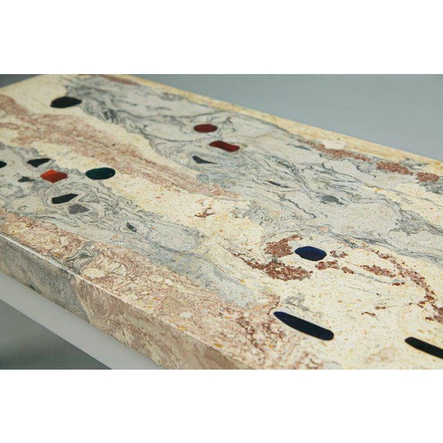 Concrete Rose, Pink and Grey Marbleized Concrete Coffee Table, Italy, Circa 1950 For Sale - Image 7 of 11