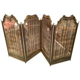 French Polished Brass Four Fold Fire Screen, 19th Century For Sale