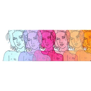 """Blue, Purple, Magenta, Pink, Peach, Orange "" Original Artwork by Hilary Bond For Sale"