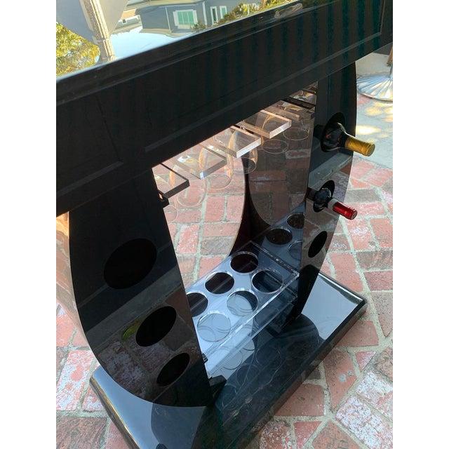 Black Vintage Contemporary Black Lucite Bar Console For Sale - Image 8 of 12