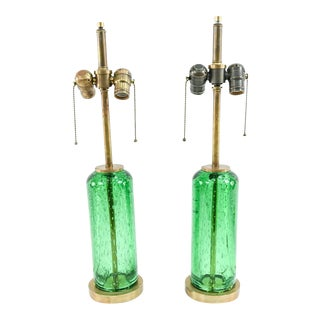 Mid 20th Century Green Bubble Glass Lamps With Brass Bases - a Pair For Sale
