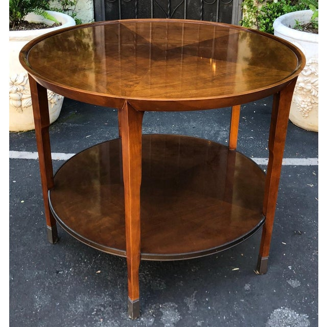 Baker Furniture Company Pair of Bill Sofield for Baker Round Mahogany Designer Side Tables For Sale - Image 4 of 7