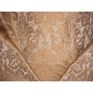 Kravet Couture 24354 Limoges Truffle Brown Silk Damask Upholstery Fabric- 11-7/8 Yards For Sale