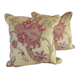 Custom Yellow & Pink Flower Pillows-2 Pieces For Sale