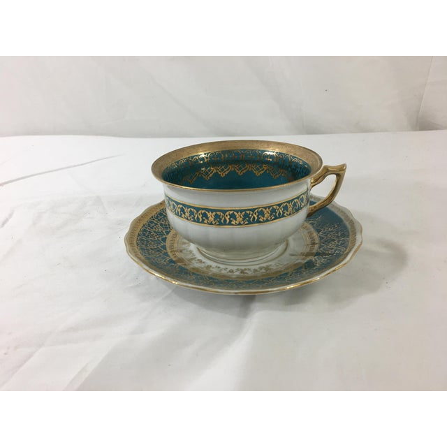 Aqua Cappodimonte Porcelain Coffee Cup and Saucer For Sale - Image 8 of 8