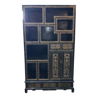 Chinese Black Lacquer Open Shelving Cabinet For Sale