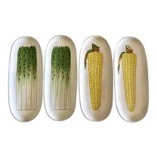 Mid-Century Italian Ceramic Asparagus and Corn Dishes - Set of 4 For Sale
