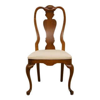 Late 20th Century Vintage Stanley Furniture Queen Anne Style Cherry Dining Chair For Sale