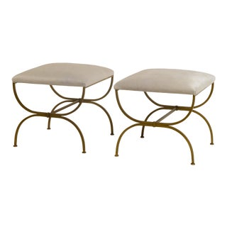 """Design Frères """"Strapontin"""" White Hide Stools - a Pair For Sale"""