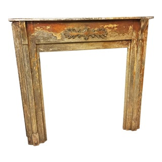 Vintage Carved Wood Fireplace Mantel