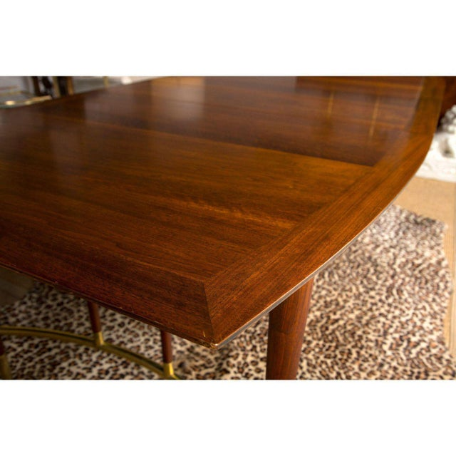 Brass Bert England for Johnson Furniture Walnut Dining Table With 3 Leaves For Sale - Image 7 of 9