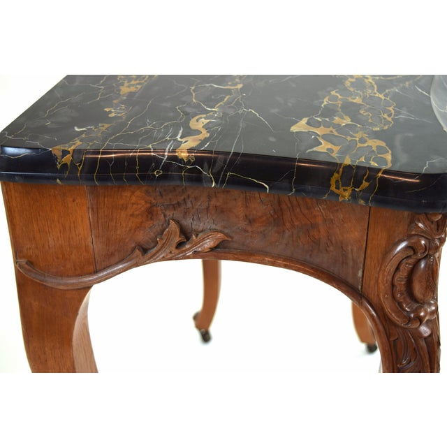 Antique French Louis XV Heavily Carved Marble Top Hall Console Table Cabriolet Legs For Sale - Image 10 of 12