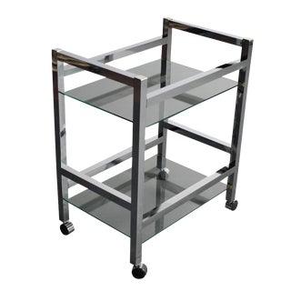 Mid-Century Modern Chrome Bar Cart / Tea Cart For Sale