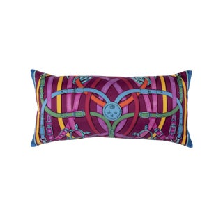 """Cavalcadour"" Hermès Silk Scarf Pillow For Sale"