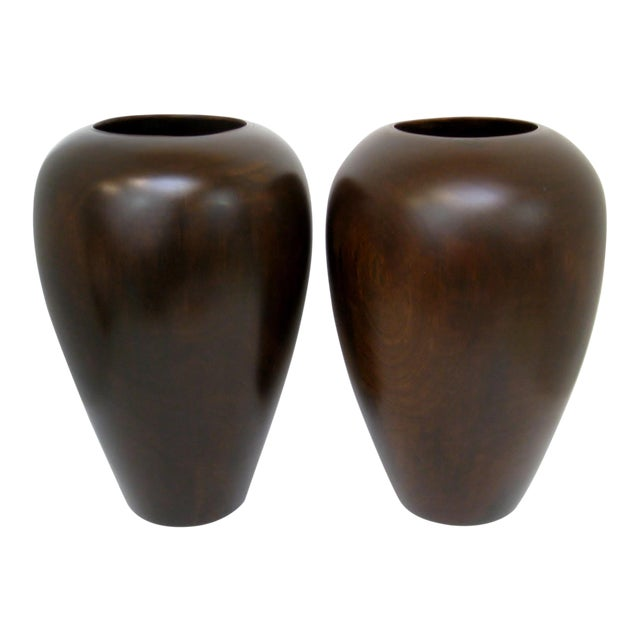 Turned Wood Vases A Pair Chairish