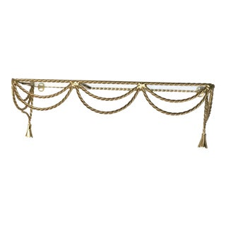 Hollywood Regency Brass Rope & Tassel Wall Shelf For Sale