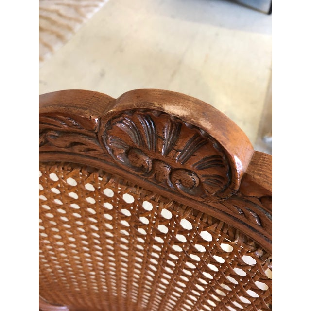 1950s Vintage Classic French Style Caned and Wood Side Dining Chairs- Set of 4 For Sale In Philadelphia - Image 6 of 13