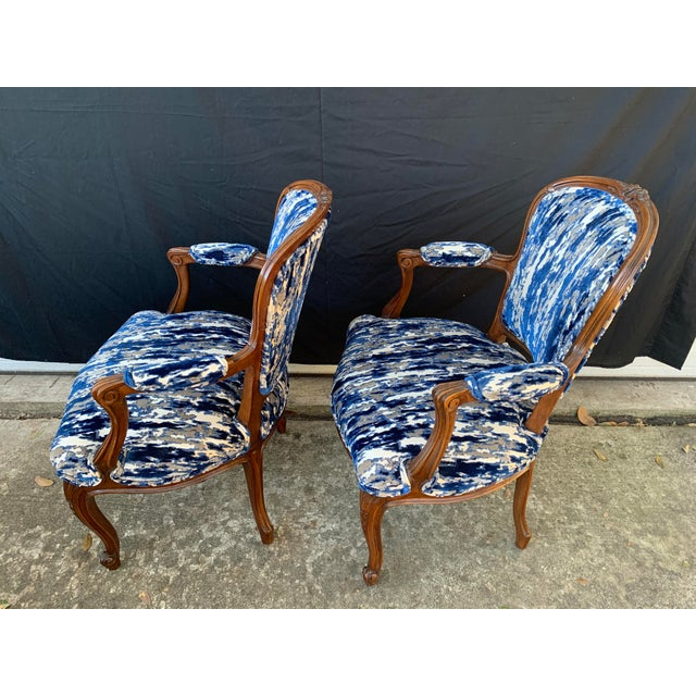 Antique French Carved Bergere Chairs-Pair For Sale In New Orleans - Image 6 of 13