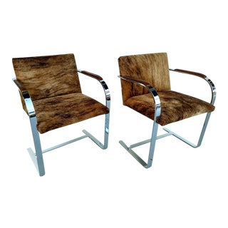 Mies Van Der Rohe Styled Chrome Cantilevered, Hair on Hide Chairs, a Pair For Sale