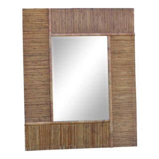 5 Ft Vintage Gabriella Crespi Inspired Pencil Reed Bamboo Mid Century Boho Mirror For Sale