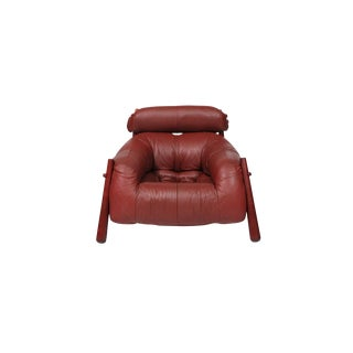 Brazilian Leather Lounge Chair by Percival Lafer For Sale
