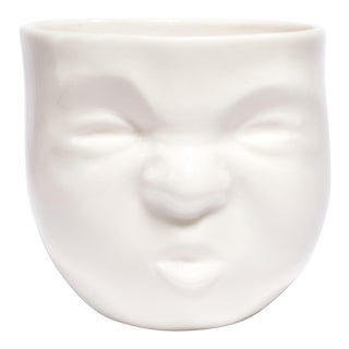 "White Ceramic ""Pouty"" Face Cup by Dima Gurevich For Sale"
