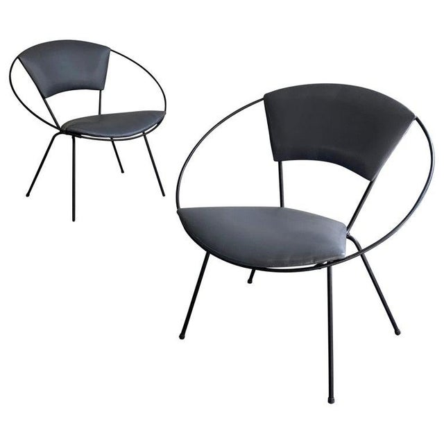 Black Mid Century Modern Wrought Iron Upholstered Hoop Chairs- A Pair For Sale - Image 8 of 8
