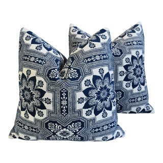 "Blue & White 19th-C. New England Coverlet Feather/Down Pillows 24"" Square - Pair For Sale"