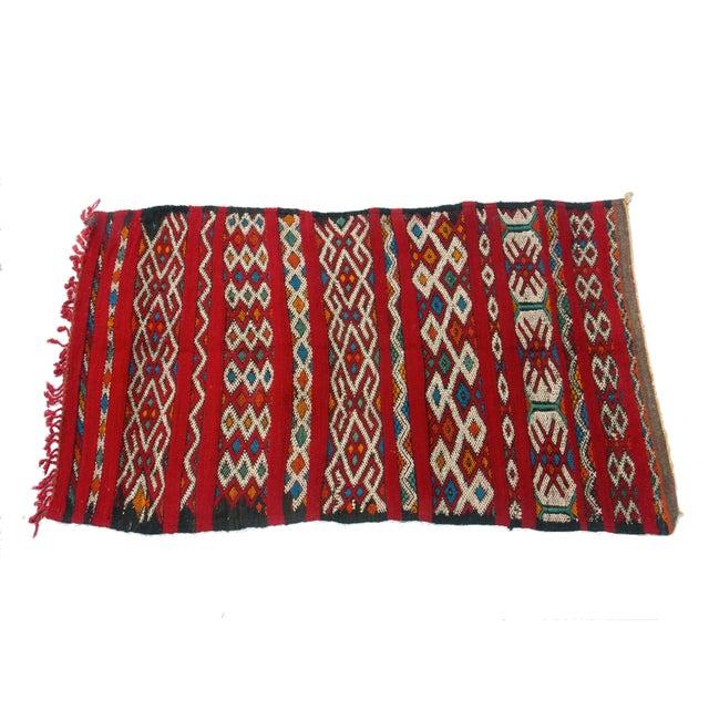 "Red Moroccan Berber Tribal Kilim Rug 3' 2"" x 5' 3"" - Image 1 of 5"