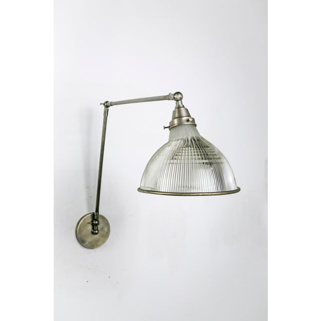 Silver Reeded Holophane Shades as Armed Sconces For Sale - Image 8 of 12