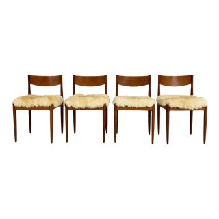Danish Dining Chairs in Sheepskin, Set of 4 For Sale
