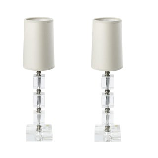Small Cut Glass Vanity Lamps - a Pair For Sale