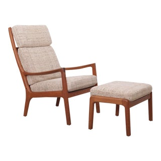 Ole Wanscher Senator Highjack Lounge Chair and Ottoman by Cado