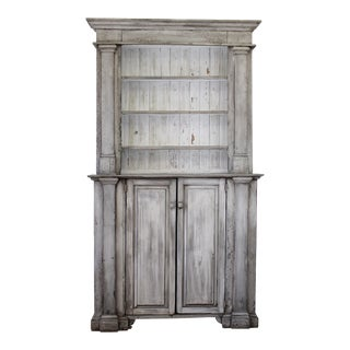 Antique Primitive Style 2 Part Display Cabinet For Sale