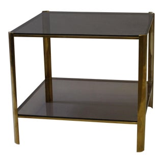 Square Side Table With Smoked Glass & Brass Base by Artist Broncz, Circa 1960